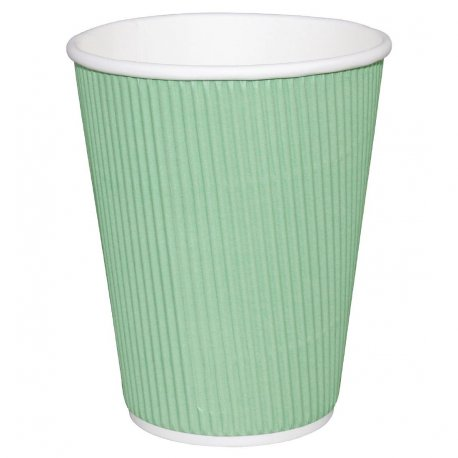 Fiesta Ripple Wall Takeaway Coffee Cups Turquoise 225ml / 8oz x 500 (Pack of 500)