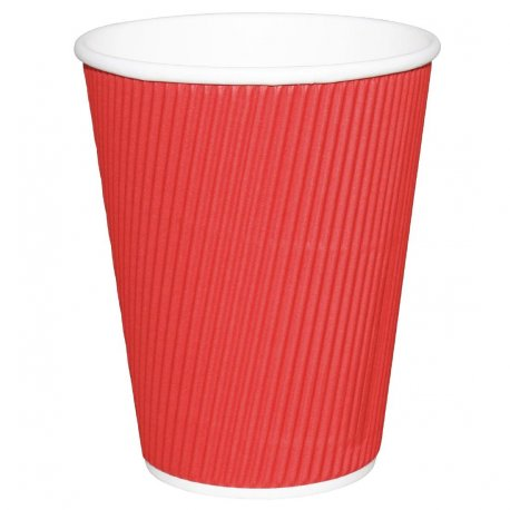 Fiesta Ripple Wall Takeaway Coffee Cups Red 340ml / 12oz x 500 (Pack of 500)