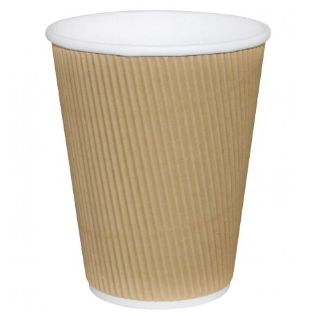 Fiesta Ripple Wall Takeaway Coffee Cups Kraft 225ml / 8oz x 25 (Pack of 25)