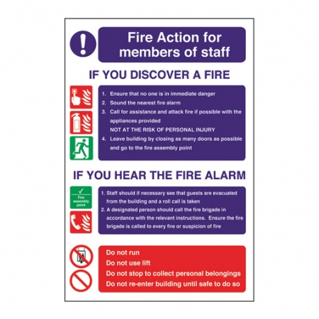 Safety Sign Fire Action Staff Signs (Sold Singly)