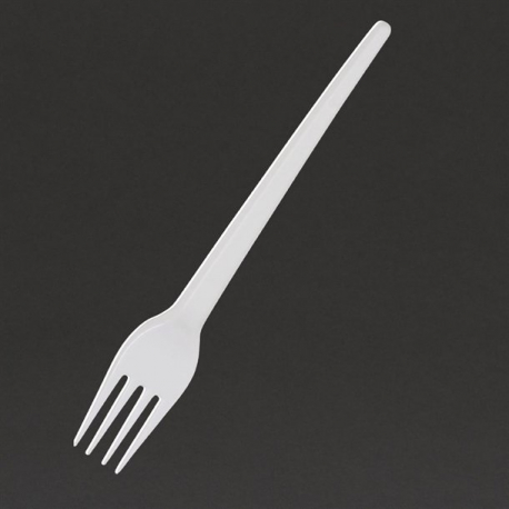 Fiesta Disposable Plastic Forks White (Pack of 100)
