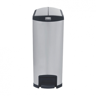 Slim Step-On Bin End Step S/S 90 ltr Black Trim (Sold Singly)