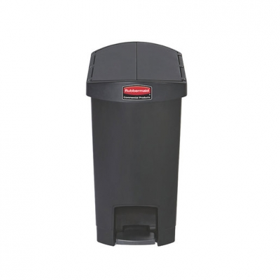 Slim Step-On Bin End Step 30 ltr Black (Sold Singly)