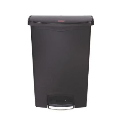 Slim Step-On Bin Front Step 90 ltr Black (Sold Singly)