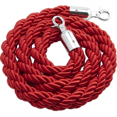 Barrier Rope Chrome Fittings Red 1.5m (5 pcs)