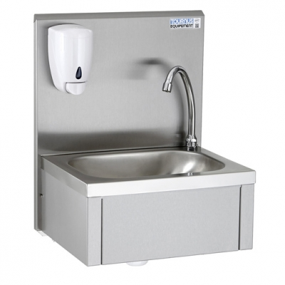 Knee Operated Hand Wash Basin w.Upstand + Soap Disp (Sold Singly)