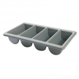 Cutlery Box Polypropylene 4 Compartments Grey (Sold Singly)