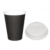 Special Offer  Fiesta Black 340ml Hot Cups and White Lids (Pack of 1000)
