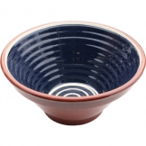 ABS Pottery ABS Terracotta 28cm Ribbed Bowl (Blue w/Cream Swirl)