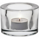 Heavy Base Tealight Holder Clear Glass 8cm (Sold Singly)