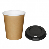 Special Offer  Fiesta Brown 225ml Hot Cups and Black Lids (Pack of 1000)