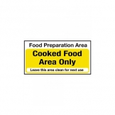 Food Preparation Area Cooked Food Only Notice. (Sold Singly)