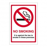 No Smoking It Is Against The Law On Premises (Sold Singly)