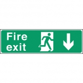 Safety Sign Fire Exit Down Arrow (Sold Singly)