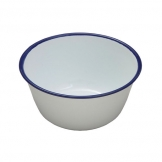 Round Pudding Basin - White Enamel On Steel 12cm (Sold Singly)