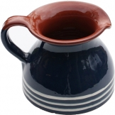 ABS Pottery ABS Terracotta Chubby Jug (Blue with Cream Swirl)