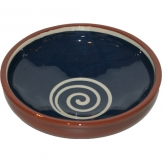 ABS Pottery ABS Terracotta 25cm Bowl (Blue with Cream Swirl)