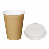 Special Offer  Fiesta Brown 340ml Hot Cups and White Lids (Pack of 1000)