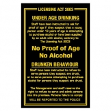 Sign - Under Age Drinking (Sold Singly)
