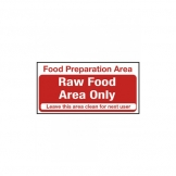 Food Preparation Area Raw Food Only Notice. (Sold Singly)