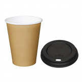Special Offer  Fiesta Brown 340ml Hot Cups and Black Lids (Pack of 1000)