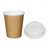 Special Offer  Fiesta Brown 225ml Hot Cups and White Lids (Pack of 1000)