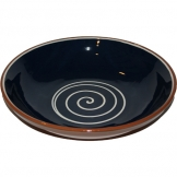 ABS Pottery ABS Terracotta 38cm Bowl (Blue with Cream Swirl)