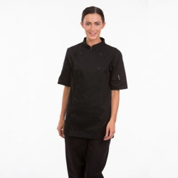Brigade Chef Clothing Ladies Short Sleeve Chefs Jacket Black