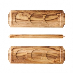 Acacia Wine/Beer Flight wooden Board (6 pcs)