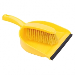 Dustpan And Brush Set Stiff Brush Yellow (Sold Singly)