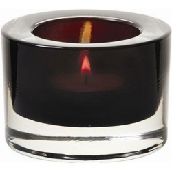 Heavy Base Tealight Holder Black Glass 8cm (Sold Singly)