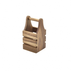 Genware Acacia Wood Cutlery Holder 10 x 10 x 20cm