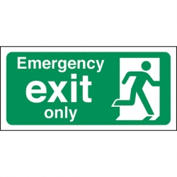 Safety Sign Emergency Exit Only (Sold Singly)