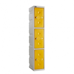 Link 51 3 Door Plastic Locker Grey with Yellow Doors