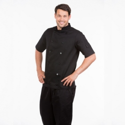 Brigade Chef Clothing Men's Short Sleeve Chefs Jacket Black