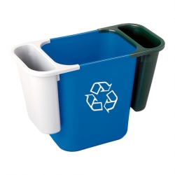 Rubbermaid Deskside Recycling Saddle Bin Green 4.5ltr