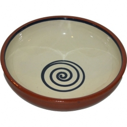 ABS Pottery ABS Terracotta 17cm Bowl Cream with Blue Swirl