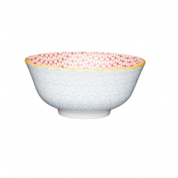 Blue and Orange Geo Ceramic Bowls (4 pcs)
