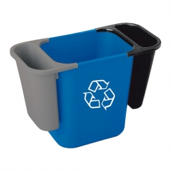 Rubbermaid Deskside Recycling Saddle Bin Grey 4.5ltr