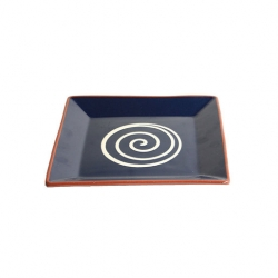 ABS Pottery Square Platter Blue with Cream Swirl 25cm