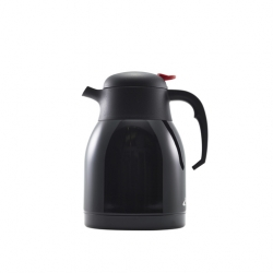 Genware Black Stainless steel vacuum push button jug 1.5 Ltr