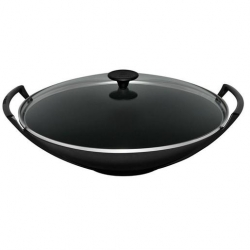 Cast Iron Wok And Glass Lid 32cm Satin Black (Sold Singly)