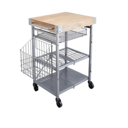 Kitchencraft Folding Trolley with Mango Wood Butcher's Block