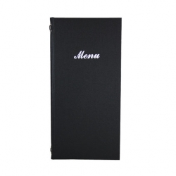 2/3rd A4 Buckram menu 4 card Black 31.5x15.5cm (Sold Singly)