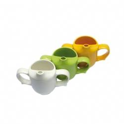 Wade Dignity 2 Handle Feeder Cup Yellow Ceramic 25cl