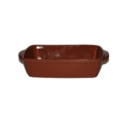 ABS Pottery Emilio Rectangle Dish Brown Terracotta 32X22cm