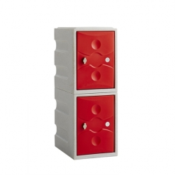 Link 51 2 Door Plastic Locker Grey with Red Doors