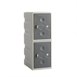 Link 51 2 Door Plastic Locker Grey with Grey Doors