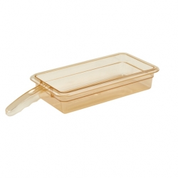 Cambro Food Pan 1/3 x 2 Inch Single Handle H-Pan Amber