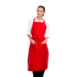 Brigade Adjustable Neck Bib Apron Red